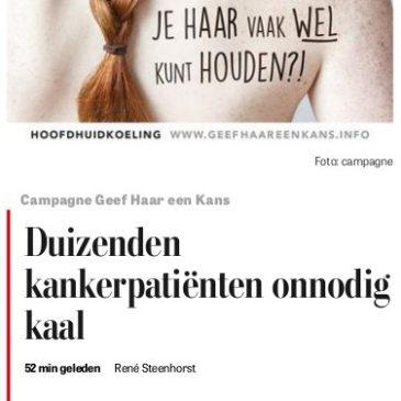 De Telegraaf besteedt aandacht aan hoofdhuidkoeling